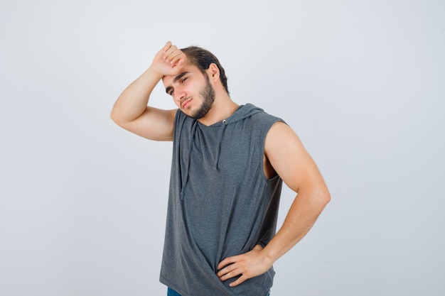 Close up on young man gesturing isolated
