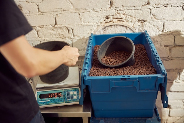 Close up of young man putting bucket on scales while standing near plastic storage container with coffee beans