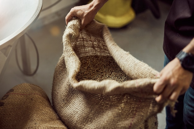 Close up of young man's hands holding open bag with green coffee beans in storage
