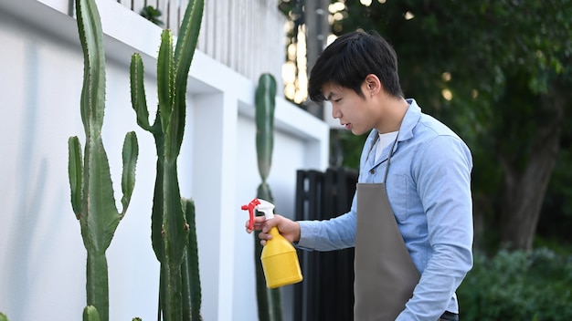 Close up on young man watering to cactus at home