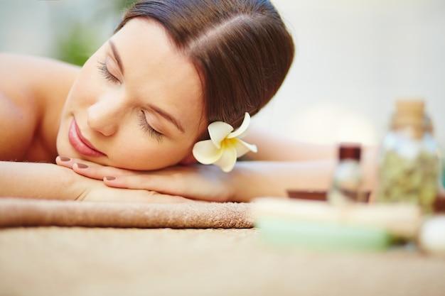 Close-up of young woman at a spa Free Photo