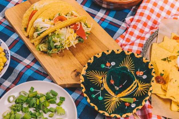 Close-up of yummy mexican food on cutting board