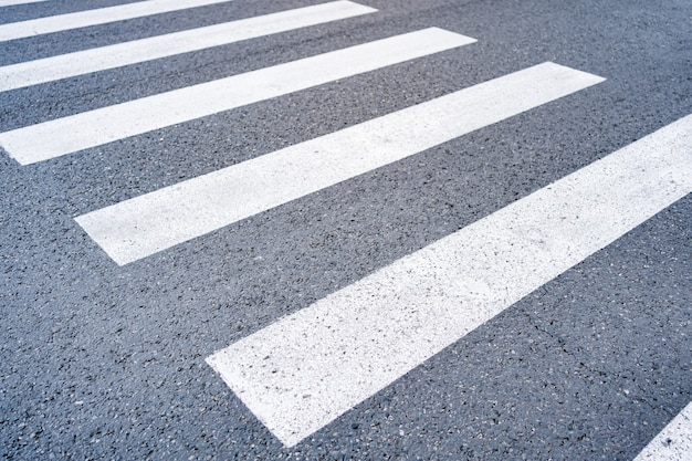 Close - up zebra crossing from empty street