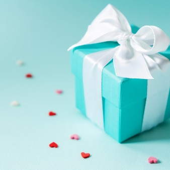 Close view of box tied with silk ribbon