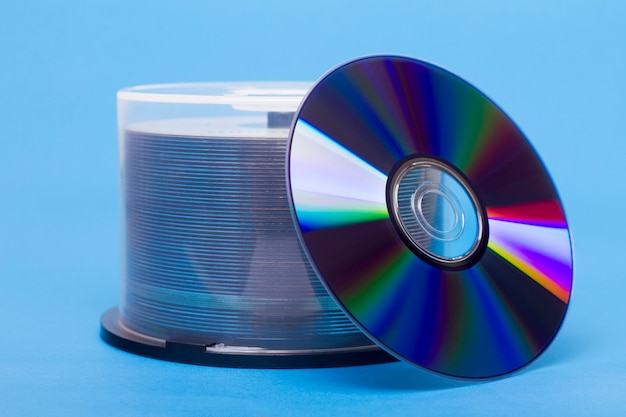 Close view of a bundle of virgin compact discs.