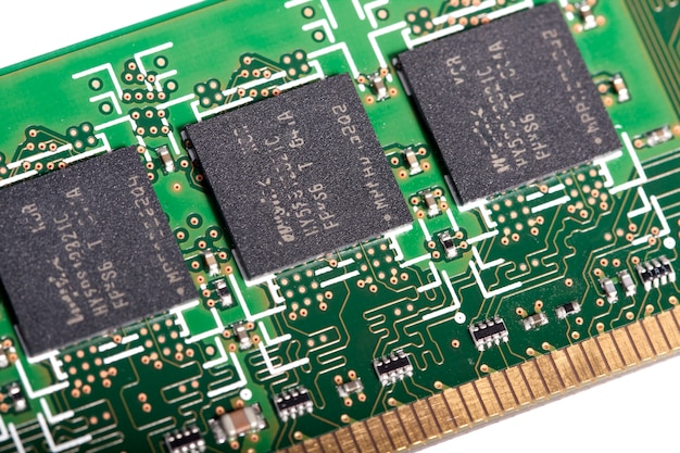 Close view of the circuits of a modern computer memory chip.