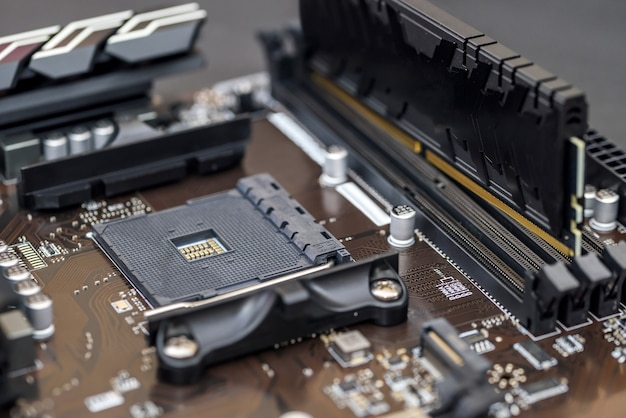 Close view of motherboard