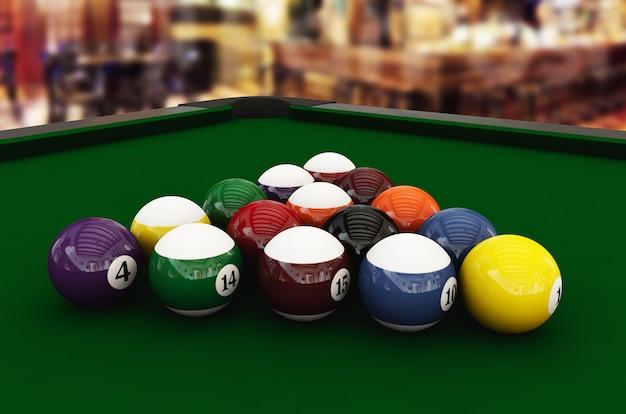 Крупным планом вид бильярдного стола с шарами в развлекательном клубе 3d визуализации