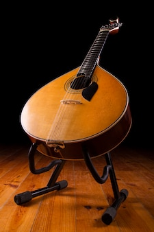 Close view of a traditional portuguese guitar on a dark background.