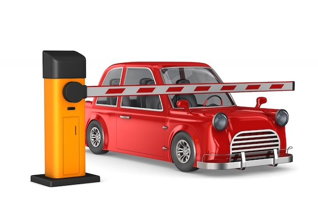 Закрытый автоматический шлагбаум и автомобиль 3d иллюстрации
