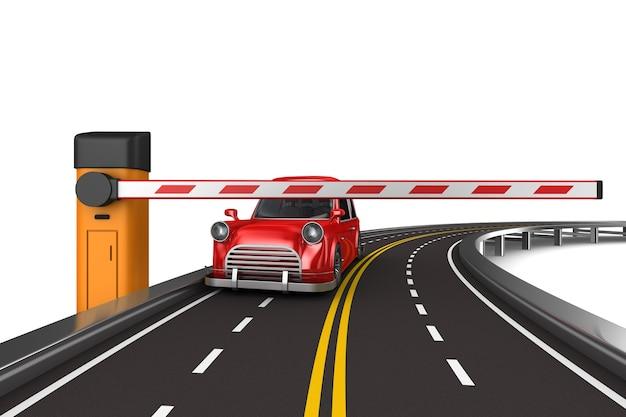 Закрытый автоматический шлагбаум и дорога. изолированный 3d-рендеринг