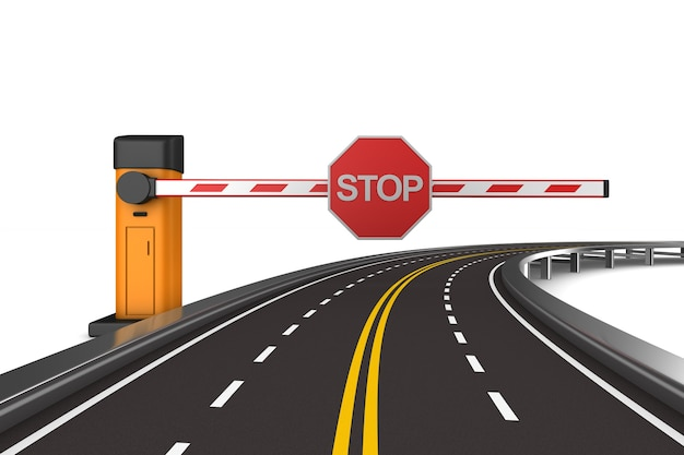 Closed automatic barrier and road. isolated 3d rendering