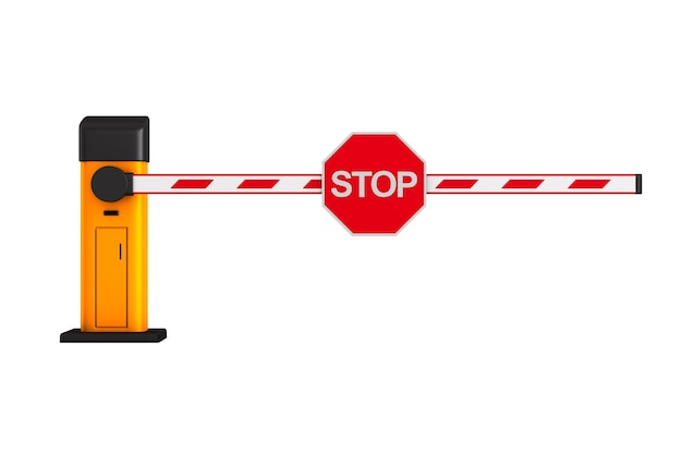 Closed automatic barrier on white.