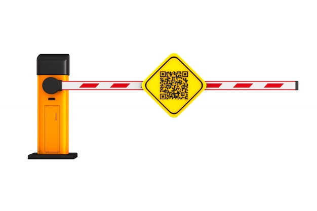 Closed automatic barrier with qr code on white.