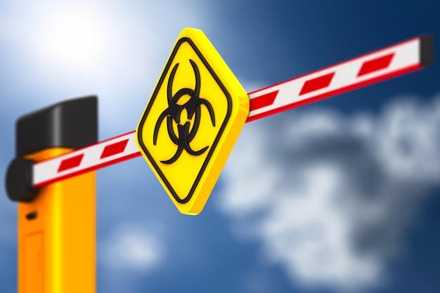 Закрытый автоматический барьер с символом биологической опасности на белом.