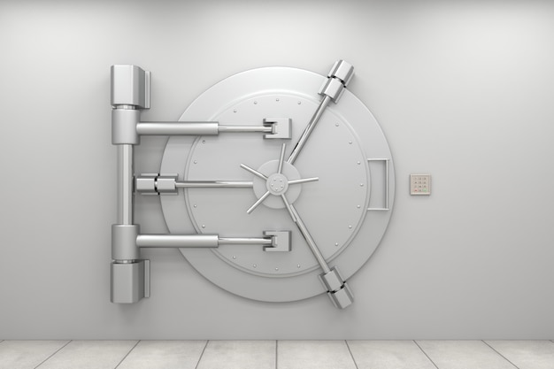 Closed bank vault door with code panel