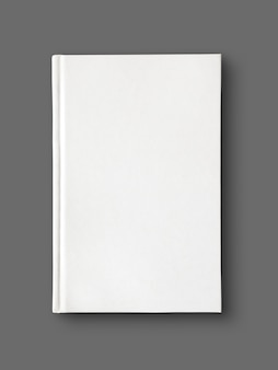 Closed blank dictionary, book isolated on grey