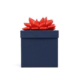 Closed blue cardboard box with lid for gifts isolated on white background, close up