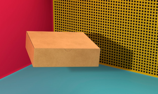 Closed brown copy space cardboard box
