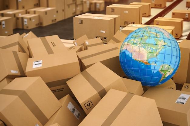 마분지 상자를 닫고 접착제로 포장했습니다. 상자에 지구 지구본지도입니다. 인터넷 선적 및 세계화의 개념. 3d 렌더링