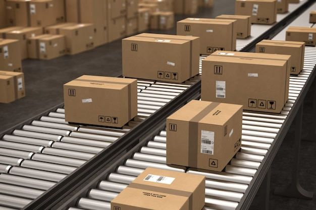 Closed cardboard boxes and wrapped with adhesive on conveyor roller. 3d rendering . 3d rendering