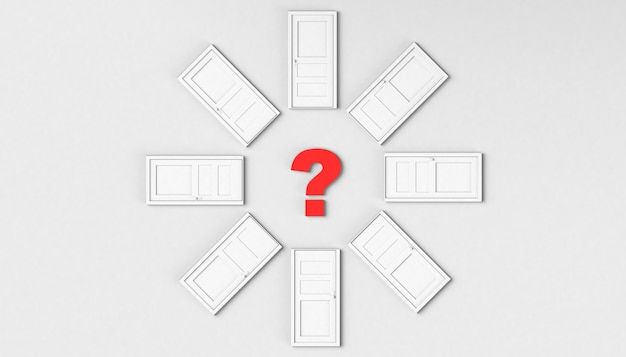 Closed door circle with question mark in the center. the chose. 3d illustration. minimal. modern.