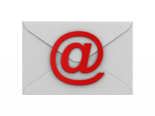 Закрытый конверт и символ электронной почты на белом.