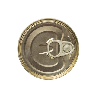 A closed jar of canned food is isolated on a white surface. universal food storage.