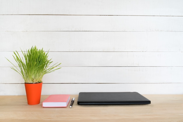 Closed laptop, notebook and pen. home workplace. green houseplant on the table. white background.