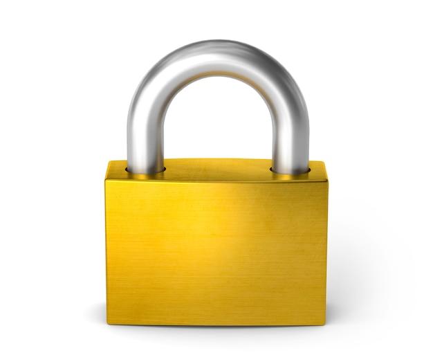 닫힌 자물쇠. 자물쇠. 흰색 배경에 고립. 3d 렌더링입니다.