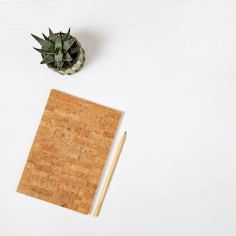 Closed notebook with cover made of wood cork and pencil for drawing or sketching, pot with succulent on white desk. work space for creative person. top view. flat lay.