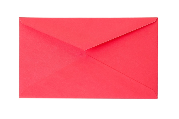 Closed old red paper envelope isolated on white background