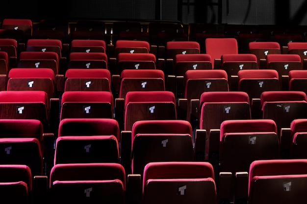 Closed red auditorium or small theater seating
