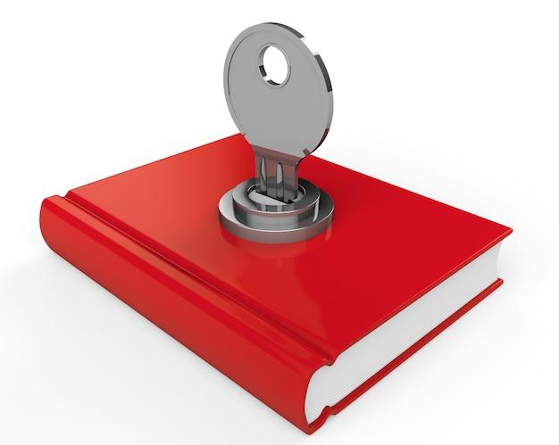흰색 바탕에 잠금 장치가 있는 닫힌된 빨간 책