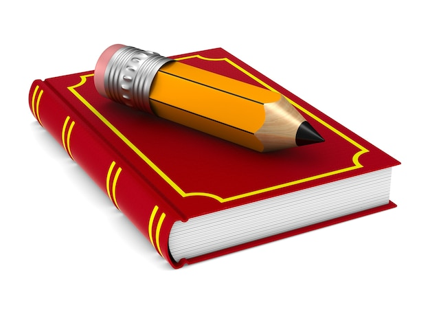 Closed red book and wooden pencil on white background. isolated 3d illustration