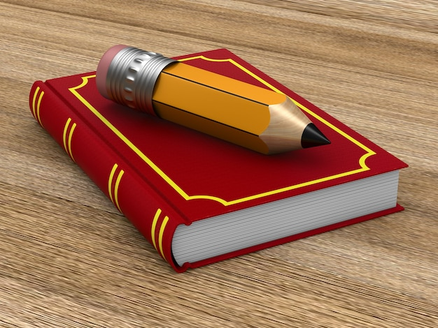 Closed red book and wooden pencil on wooden surface. 3d illustration