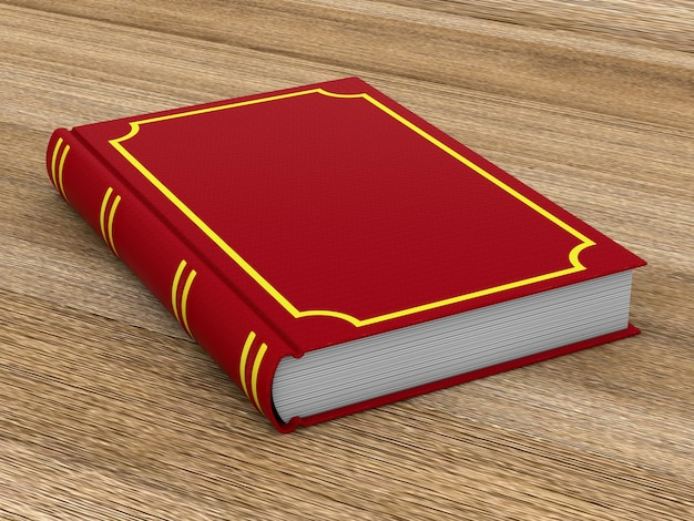 Closed red book on wooden surface. 3d illustration