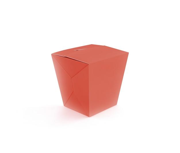 閉じた赤いファーストフードボックスモックアップ
