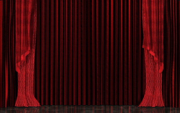 Closed red stage curtain realistic