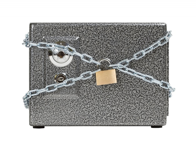 Closed safe, wrapped in chain. keeping the money safe concept.