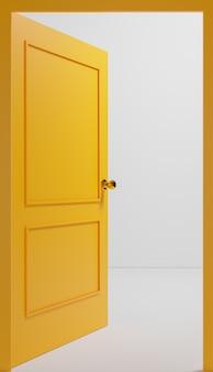 빈 방이 내려다 보이는 열린 노란색 문 폐쇄 샷. 3d 그림