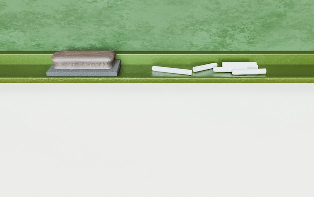 コピースペースの白い背景を持つ学校の黒板に消しゴムとチョークのクローズドショット。 3dレンダリング