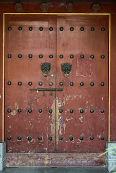 Closed traditional chinese door, xi'an, shaanxi, china.
