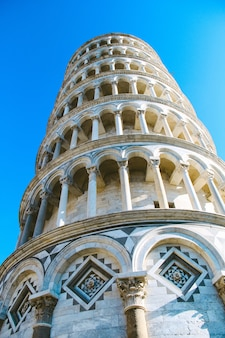 Closed up leaning tower of pisa in italy