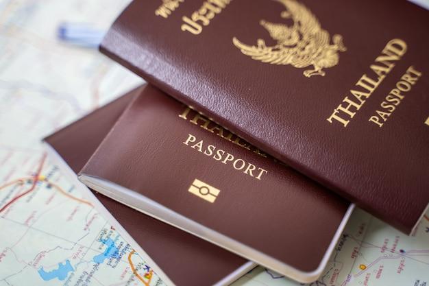 Closed up passport, prepare travel