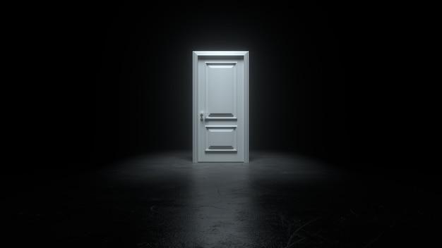 Закрытая белая дверь в темной комнате с ярким светом