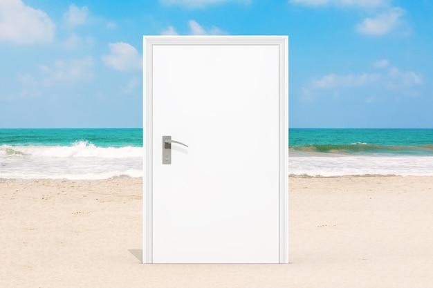 코로나바이러스 2019-ncov covid-19 격리의 극단적인 폐쇄로 인해 바다 또는 바다 모래 해변의 닫힌 흰색 문. 3d 렌더링