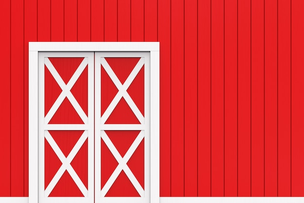 Closed white door on red wood panels wall background.