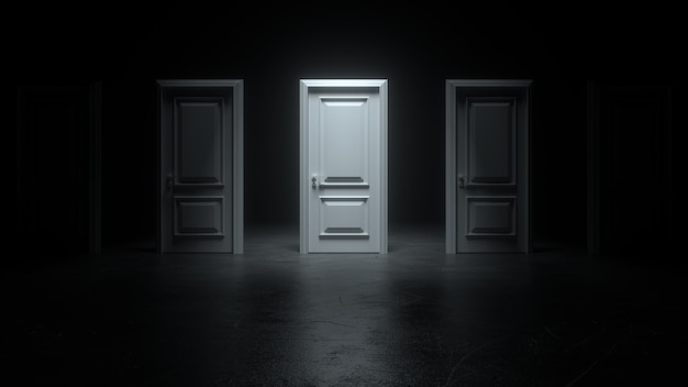 Closed white doors in a dark room with bright light stand in a row