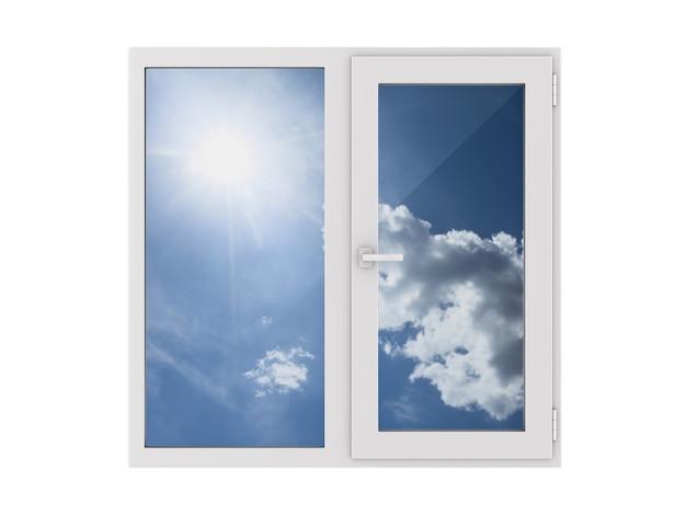 흰색 바탕에 닫힌 된 창입니다. 격리 된 3d 그림
